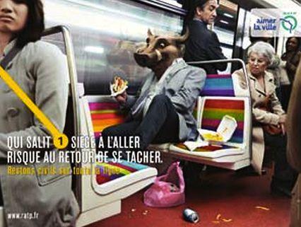 affiche RATP civil cochon