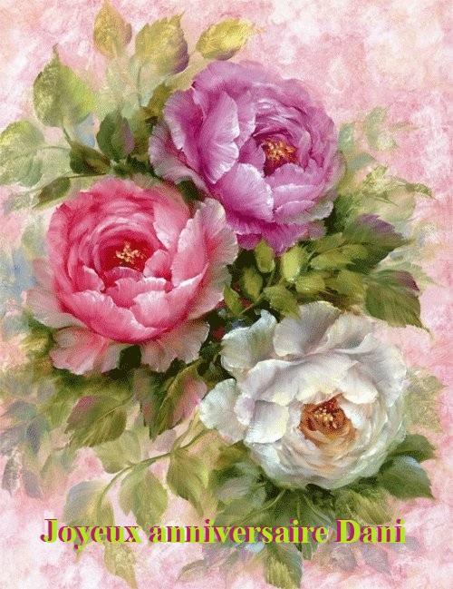 trois roses d'anniversaire