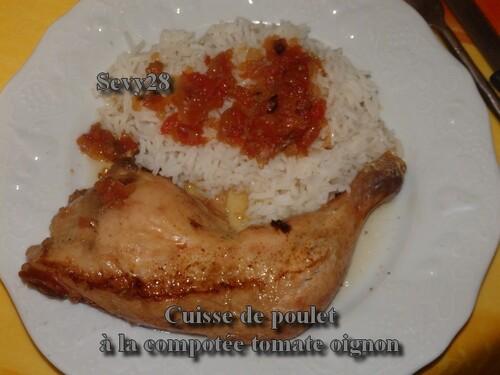 Cuisses de poulet à la compotée tomate oignon (mijot'cook)