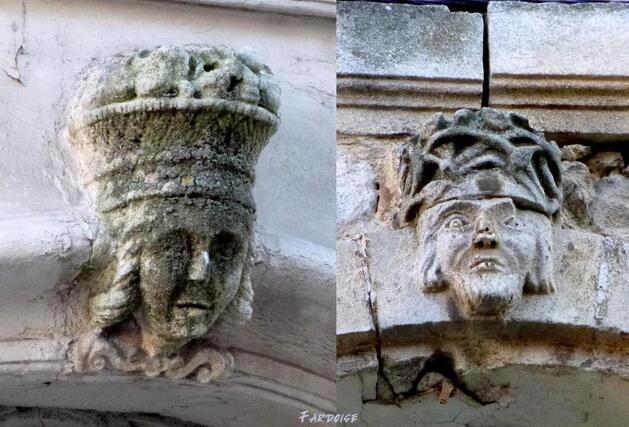 Têtes sculptées - Maisons à Saint Gilles du Gard
