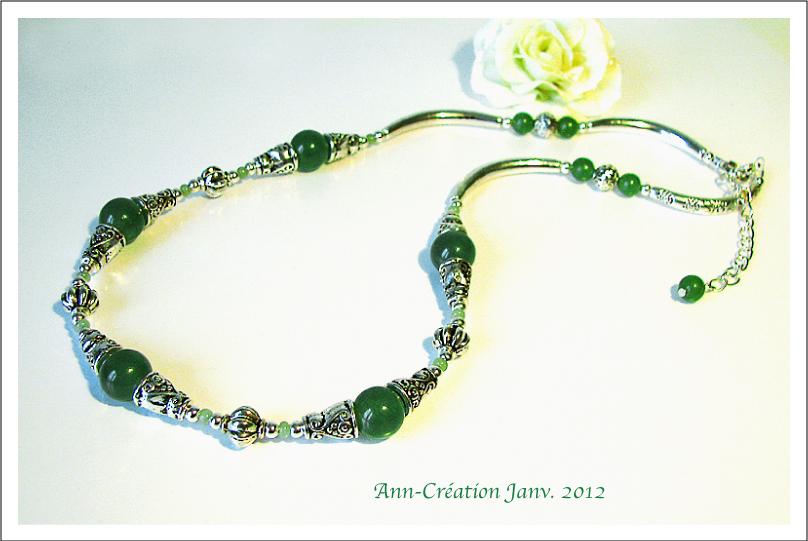 Collier Perles de Jade Vert / Métal argenté & Plaqué Argent