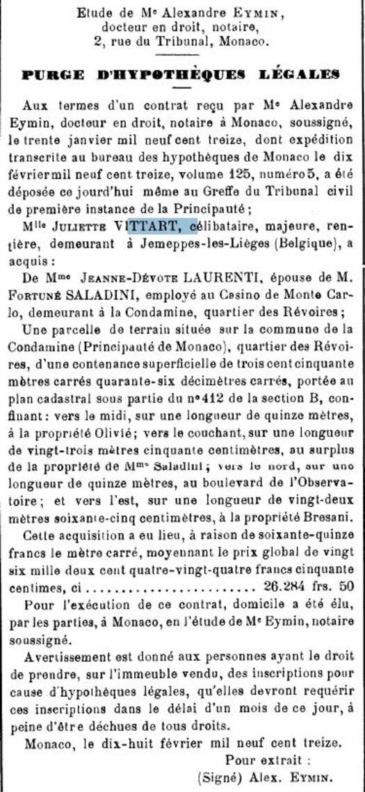 Journal de Monaco n°2864 du 18 février 1913