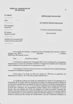 Nov 2013 : un tribunal administratif condamne l'E.N pour refus d'affecter une AVS-i  Jugement du Tribunal administratif de Poitiers, novembre 2013  Le rectorat est condamné pour avoir refusé la mise