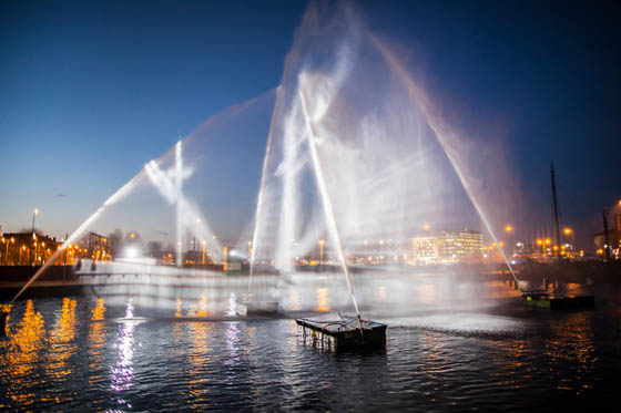 Goast Ship: a 3D Projected onto Curtains of Water at the Amsterdam