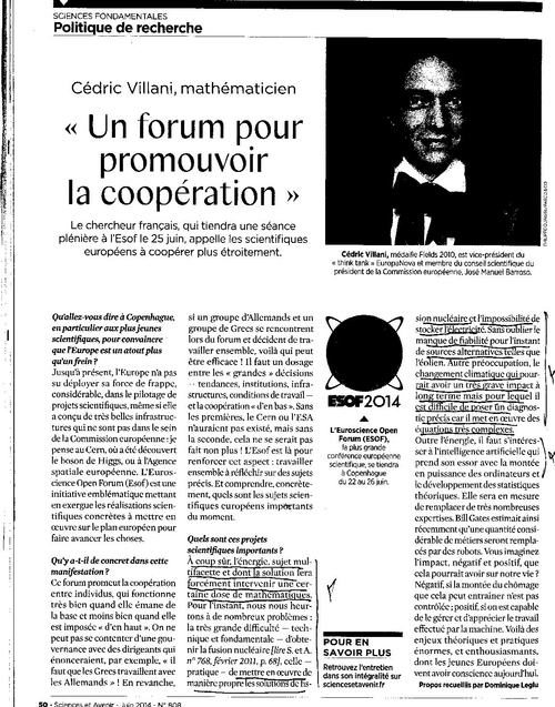 Cedric VILLANI interwiev de Dominique  LEGLU sciences et avenir N°808 JuIn 2014