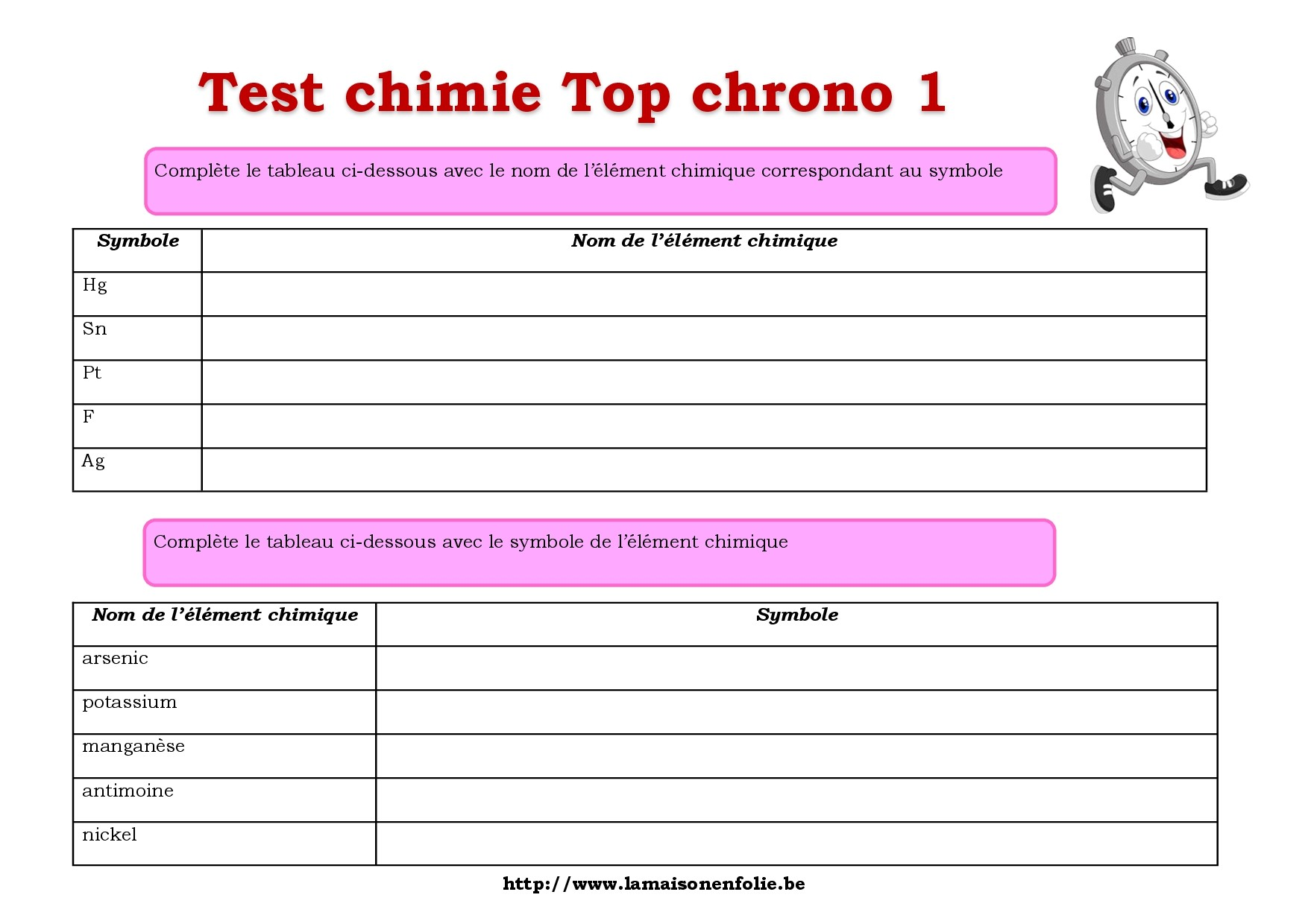 Test top chrono chimie 1