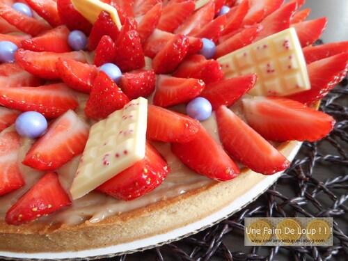 Tarte aux fraises et sa crème pâtissière au carambar caramel
