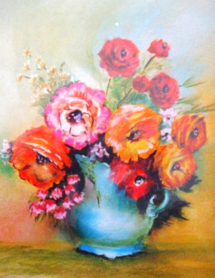 Roses dans un vase bleu