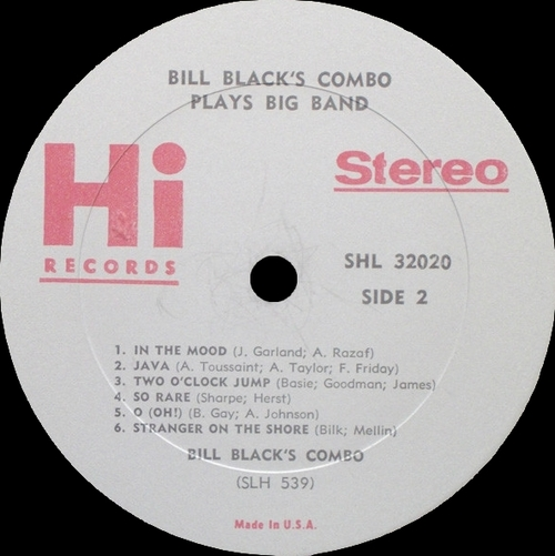 "Bill Black's Combo : Album "" Goes Big Band "" Hi Records HL 12020 / SHL 32020 [ US ]"