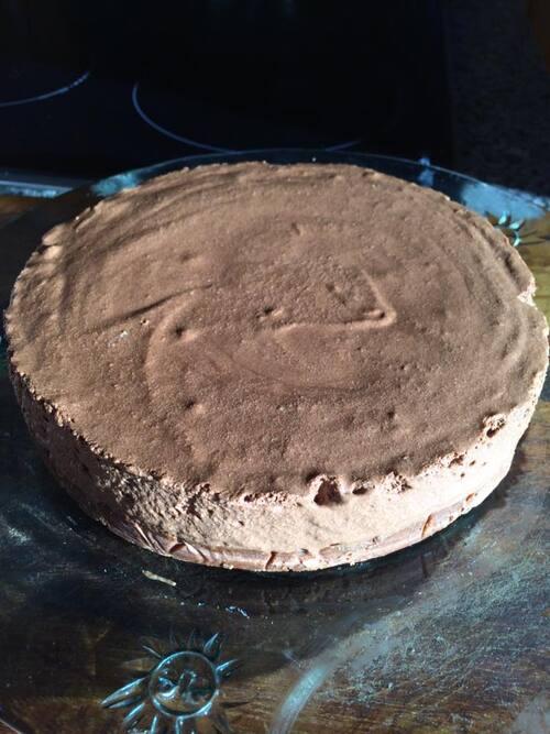 Tarte( croustillant spéculos crêpes dentelles au chocolat) et mousse au chocolat...