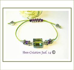 Bracelets coulissants Macramé & Cristal