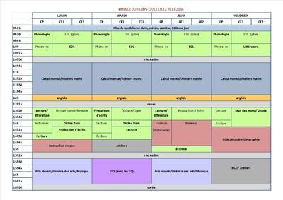 Emploi du temps 2013-2014 CP/CE1/CE2