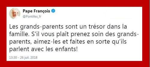 Tweet du Pape en la Fête de Sainte Anne