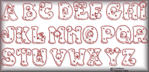 Tube alphabet de Noel 2983