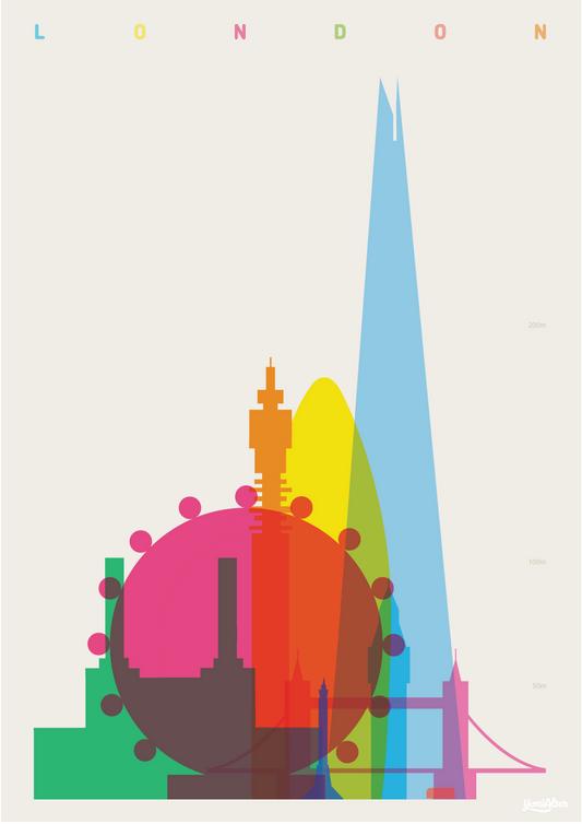 des villes du monde colorées