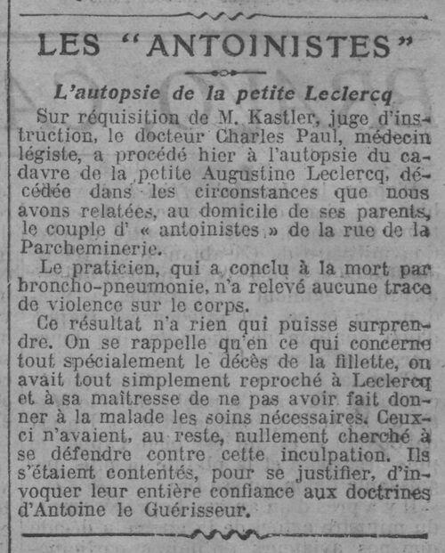 Les Antoinistes Leclercq - L'autopsie (Le Journal, 25 juil 1912)