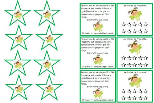 La fée Proprette, étoile, rangement, élève, école, classe, gestion