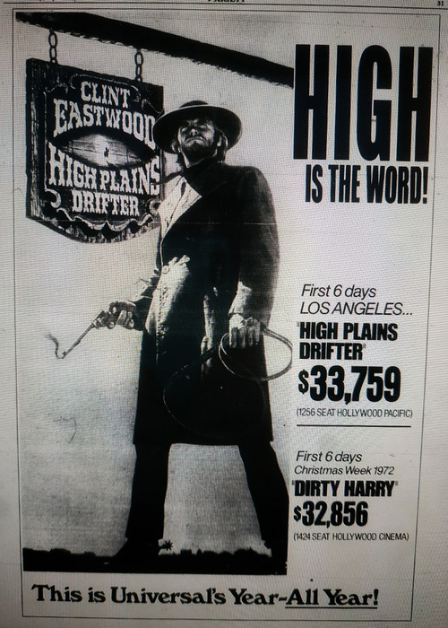 HIGH PLAIN DRIFTER BOX OFFICE USA 1973