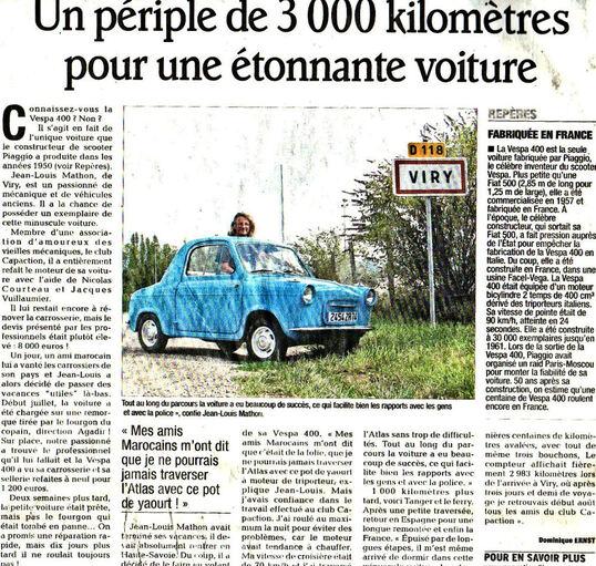 Agadir Genève en vespa 400