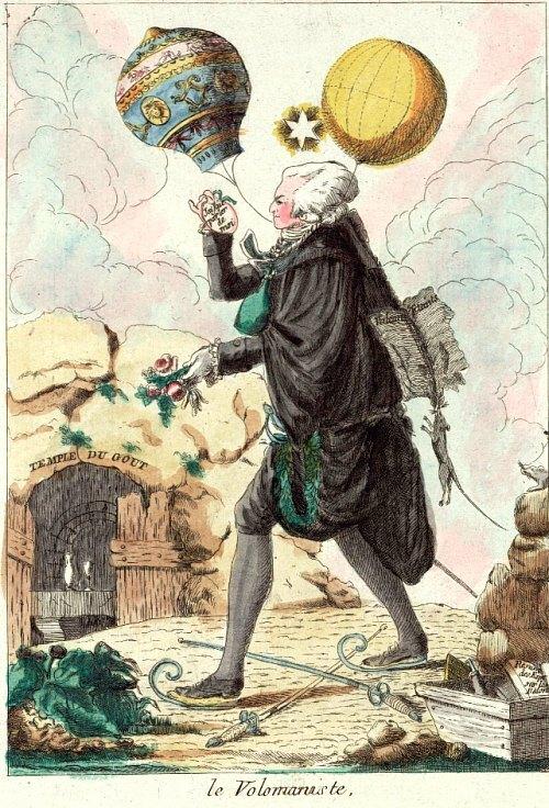 Le Volomaniste. Caricature du XVIIIe siècle