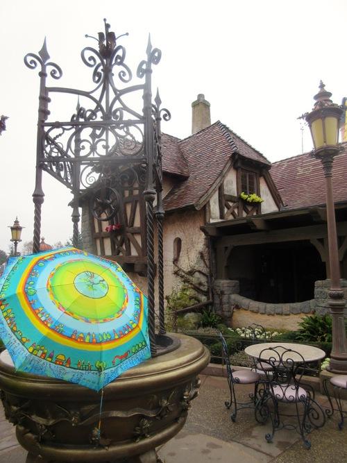 Parapluies devant des puits