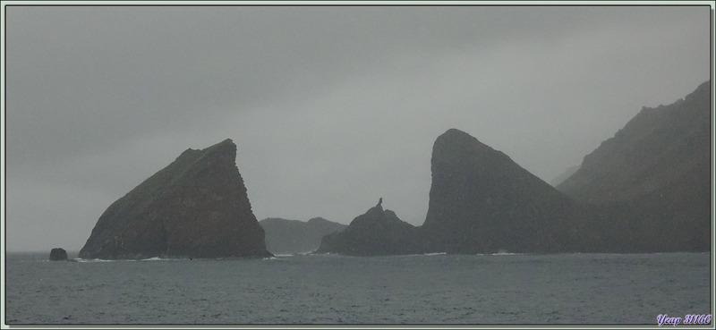 Au petit matin, sous la pluie, nous arrivons en vue de Gough Island avec ses sommets englués dans les nuages - Archipel de Tristan da Cunha