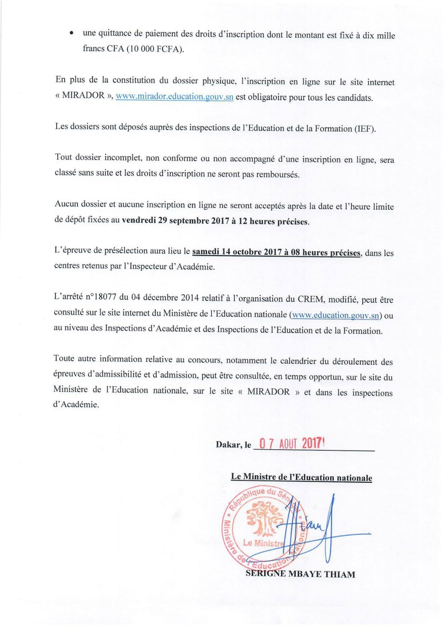 a8e541e4720 Concours de Recrutement des Élèves-Maîtres (C.R.E.M) session 2017 2018.