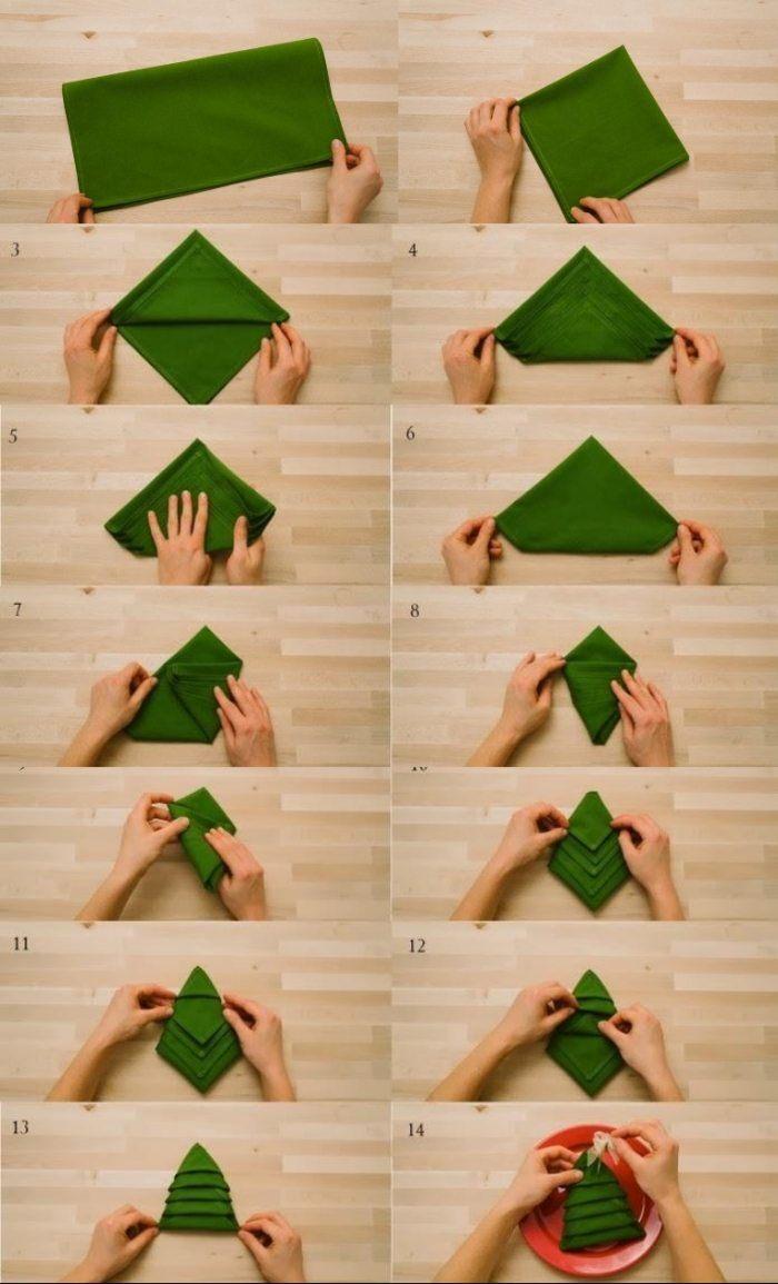 pliage-serviette-Noel-sapin-noel-vert-tutoriel pliage de serviette pour Noël
