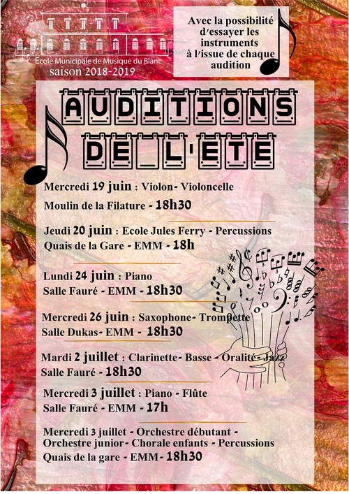 A venir : les auditions de l'été