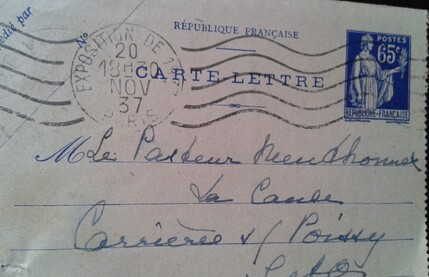 Entier postal - type payx 65c outremer
