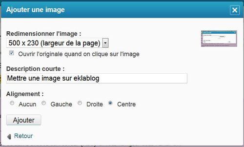 Mettre une image sur eklablog