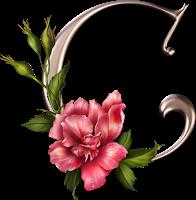 Lettre fleur rose