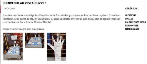 """Le restau'livre sur le site du """"Prix des Incorruptibles"""""""