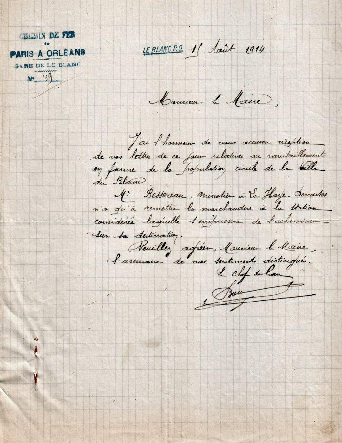 Lettre de la Compagnie d'Orléans au Maire du Blanc concernant l'envoi de farine