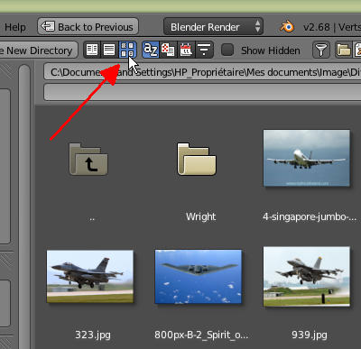 Bouton pour voir les images en miniatures dans le File Browser