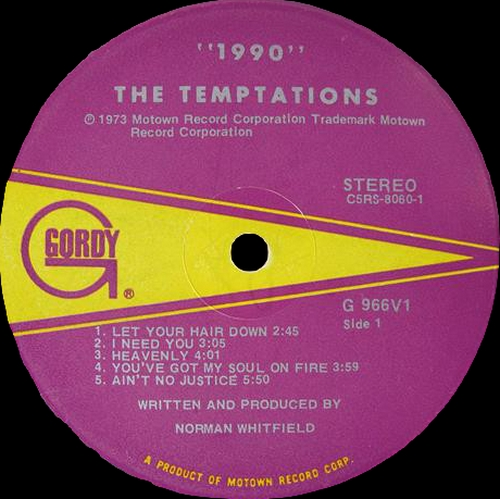 "The Temptations : Album "" 1990 "" Gordy Records G-966V1 [ US ]"