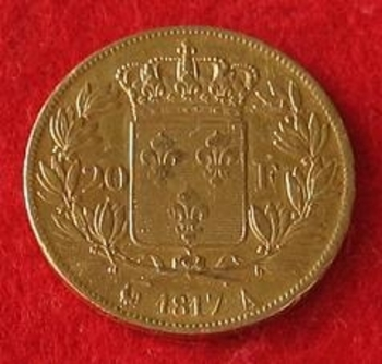 Monnaie 20 francs OR  Louis Xviii 1817 r