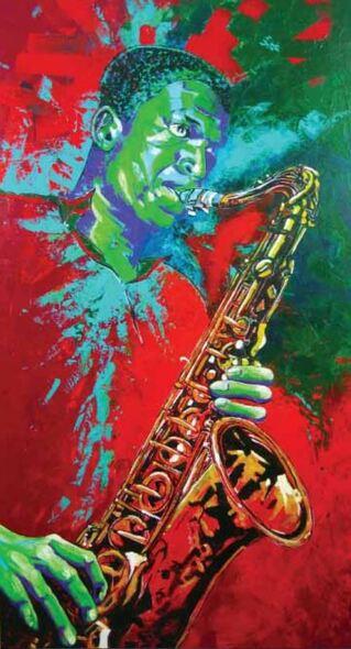 Dessin et peinture - vidéo 1584 : Le saxophoniste John Coltrane - peinture expressionniste à l'acrylique. :