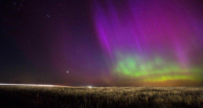 Une aurore polaire dans la région de Riazan en Russie en 2015