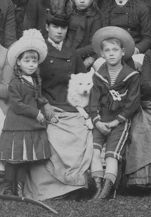 Empress Maria Feodorovna and her two youngest children Grand Duke Michael Alexandrovich and Grand Duchess Olga Alexandrovna: