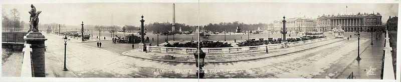 Panoramique de la place de la Concorde à Paris en 1919