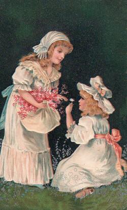 1905 - Carte gauffrée de fillettes ramassant des fleurs