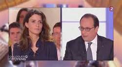 Madame Constanza face à François Hollande sur France 2