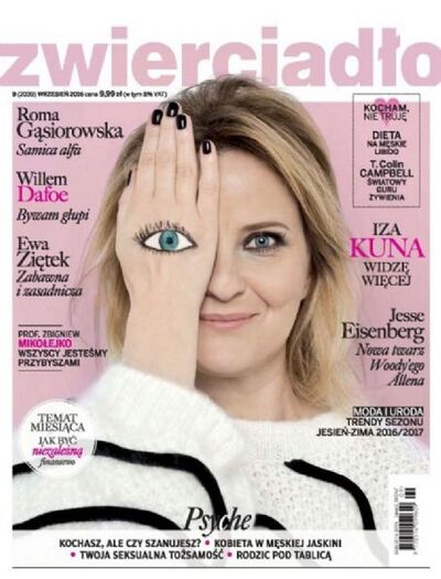 Here's a big fat One-Eye sign on the cover of Polish magazine Zwierciadło featuring actress Iza Kuna.