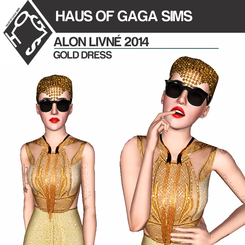 ALON LIVNÉ 2014 GOLD DRESS