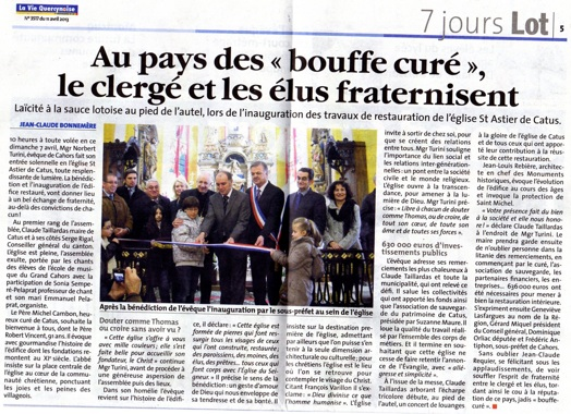 "Article du journal ""La Vie Quercynoise"""