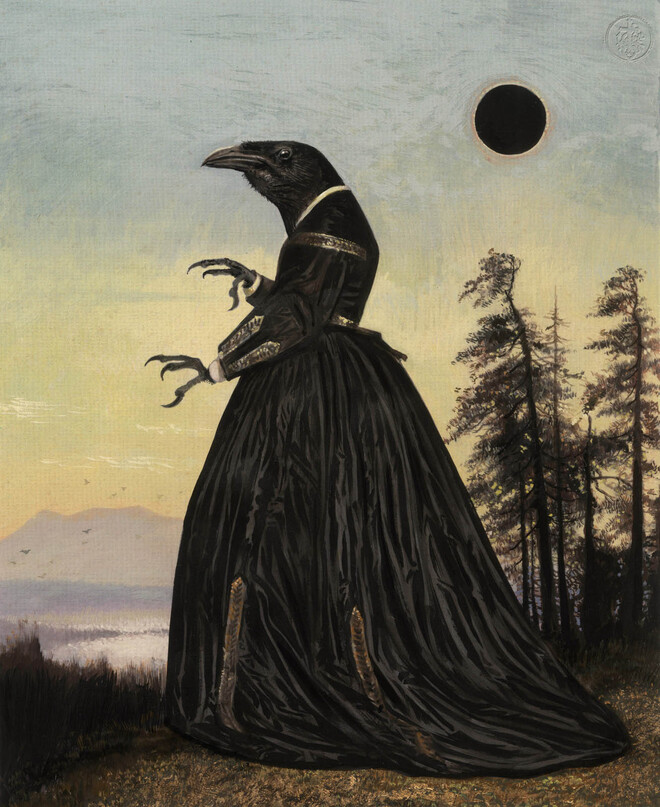 surreal painting crow