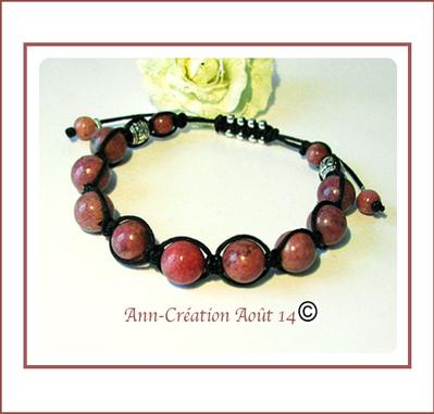 Bracelet Coulissant Macramé Rose & Noir - Rhodochrosite / Plaqué argent