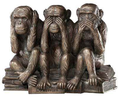 Les 3 singes de la sagesse :ne rien voir, ne rien entendre et ne rien dire.