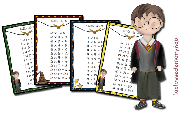 Mini cartes de révision Harry Potter - Multiplications
